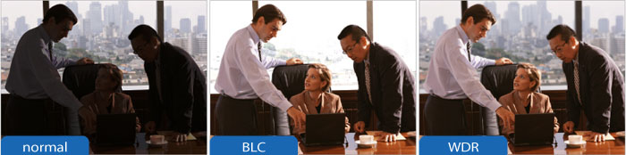 مقایسه ای بین تصویر عادی ، BLC و WDR